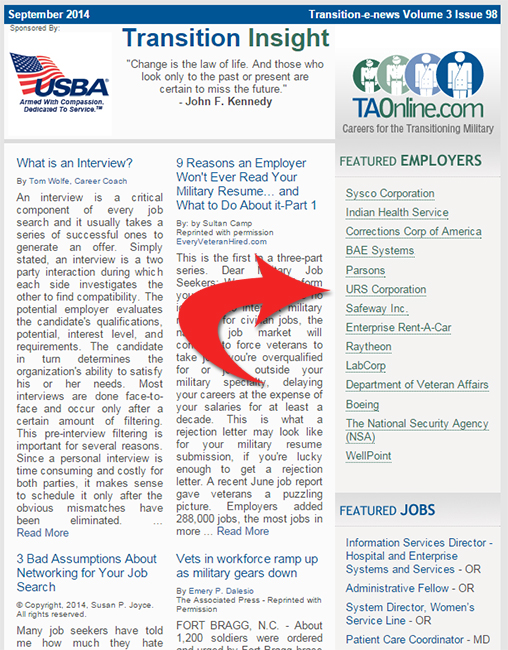 Featured Employer Newsletter Example